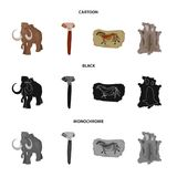 Primitive, mammoth, weapons, hammer .Stone age set collection icons in cartoon,black,monochrome style vector symbol. Stock illustration Royalty Free Stock Image