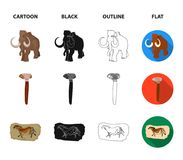 Primitive, mammoth, weapons, hammer .Stone age set collection icons in cartoon,black,outline,flat style vector symbol. Stock illustration Royalty Free Stock Photos