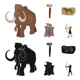 Primitive, mammoth, weapons, hammer .Stone age set collection icons in cartoon,black style vector symbol stock. Illustration Stock Image