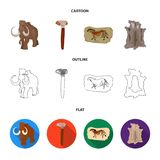 Primitive, mammoth, weapons, hammer .Stone age set collection icons in cartoon,outline,flat style vector symbol stock. Illustration Stock Photo