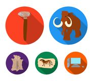 Primitive, mammoth, weapons, hammer .Stone age set collection icons in flat style vector symbol stock illustration web. Primitive, mammoth, weapons, hammer Royalty Free Stock Image