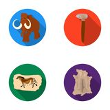 Primitive, mammoth, weapons, hammer .Stone age set collection icons in flat style vector symbol stock illustration web. Royalty Free Stock Images