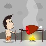 Primitive man in animal hide. Stone age primitive man in animal hide pelt cooking meat food on fire. Flat style vector illustration Stock Photo