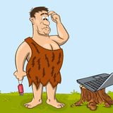 Primitive man is looking at the laptop. Primitive man with usb flash memory device in his hand in perplexity is looking at the laptop. Fanny cartoon character Stock Photos