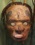 Primitive mask with shells, Papua New Guinea Royalty Free Stock Images