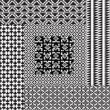 6 Primitive Patterns Seamless Black White Stock Image