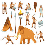 Primitive People Flat Cartoon Icons Set. With cavemen in stone age weapon tool and ancient animals isolated vector illustration royalty free illustration