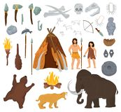 Primitive people vector mammoth and ancient caveman character in stone age cave illustration prehistoric man with stoned. Weapon and flame set isolated on white Stock Images