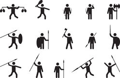 Primitive people with weapons Royalty Free Stock Images