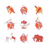 Primitive prehistoric caveman of ice age signs set. Thin line art icons. Flat style illustrations isolated on white stock illustration