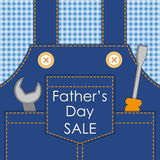 Primitive retro Father`s Day card as worker overalls with tools. Can be used as Dad`s birthday card or Labor Day card or even as Father`s Day SALE poster royalty free illustration