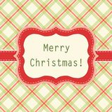 Primitive retro frame on gingham background. In traditional Christmas colors Stock Photos