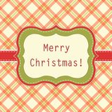 Primitive retro frame on gingham background. In traditional Christmas colors Stock Image