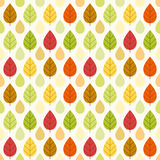 Primitive retro seamless pattern with autumn leaves Royalty Free Stock Images