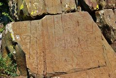 Primitive rock carvings Royalty Free Stock Photo