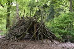 Primitive shed in the wood. Shelter hut construction of branches in a forest Royalty Free Stock Photo