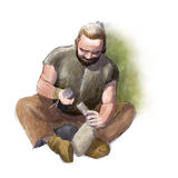 Primitive Stone carver. Digital illustration of a primitive carving stone vector illustration