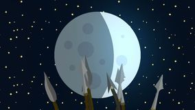 Primitive Tribe Waving Spears at the Moon stock footage