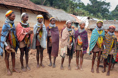 Primitive Tribes in India. May 23,2012 ,Koraput,Orissa,India,Asia-A group of Bonda women at their village royalty free stock photography