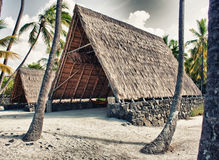 Primitive tropical house. Primitive tropical shelter in Hawaii at place of refuge Stock Images