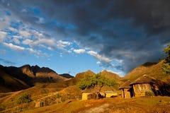 Primitive village in the mountains Stock Photos