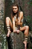 Primitive woman. Amazon woman Royalty Free Stock Photo