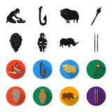 Primitive, woman, man, cattle .Stone age set collection icons in black,flet style vector symbol stock illustration web. Primitive, woman, man, cattle .Stone age Royalty Free Stock Image