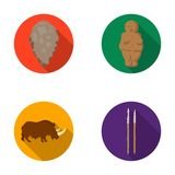 Primitive, woman, man, cattle .Stone age set collection icons in flat style vector symbol stock illustration web. Primitive, woman, man, cattle .Stone age set Stock Photography