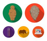 Primitive, woman, man, cattle .Stone age set collection icons in flat style vector symbol stock illustration web. Primitive, woman, man, cattle .Stone age set Royalty Free Stock Image
