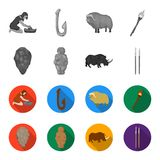 Primitive, woman, man, cattle .Stone age set collection icons in monochrome,flat style vector symbol stock illustration.  Royalty Free Stock Images