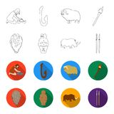Primitive, woman, man, cattle .Stone age set collection icons in outline,flet style vector symbol stock illustration web. Primitive, woman, man, cattle .Stone Stock Photography
