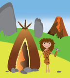 Primitive woman standing near her house. Vector cartoon illustration of a woman cavemen near her house standing with stone hammer ready to build it Royalty Free Stock Photos