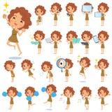 Primitive women_2. Set of various poses of Primitive women_2 stock illustration