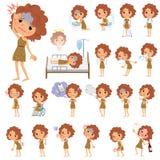 Primitive women_sickness. Set of various poses of Primitive women_sickness vector illustration