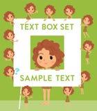 Primitive women_text box. Set of various poses of Primitive women_text box Royalty Free Stock Photo