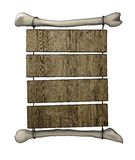 Primitive wooden billboard. Illustration  of a primitive billboard made with several wooden panels hanging on pair of bones tied with ropes. Isolated on white Royalty Free Stock Photography