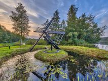 Primitive wooden Tjasker windmill. In Friesland Netherlands Stock Photo