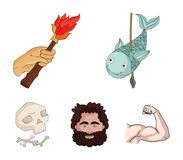 Primitivo, peixe, lança, tocha Os ícones ajustados da coleção da Idade da Pedra no estilo dos desenhos animados vector a Web cons Imagem de Stock