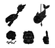 Primitivo, peixe, lança, tocha Os ícones ajustados da coleção da Idade da Pedra no estilo preto vector a Web conservada em estoqu Imagens de Stock