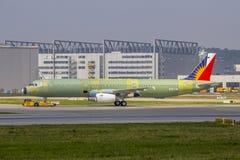 Primo Airbus A321 per Philippine Airlines non dipinto Fotografia Stock Libera da Diritti
