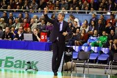 Primo allenatore Ainars Bagatskis di Budivelnik Fotografia Stock