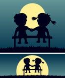 Primo amore nella luce della luna Fotografie Stock Libere da Diritti