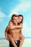 Primo amore sulla spiaggia Immagini Stock Libere da Diritti