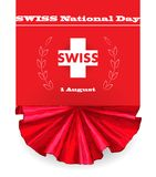 primo August Swiss National Day Illustrazione di vettore di festa nazionale con la bandiera dello svizzero e gli elementi patriot illustrazione vettoriale