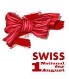 primo August Swiss National Day Illustrazione di vettore di festa nazionale con la bandiera dello svizzero e gli elementi patriot royalty illustrazione gratis