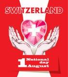 primo August Swiss National Day Illustrazione di vettore di festa nazionale con la bandiera dello svizzero e gli elementi patriot illustrazione di stock