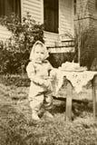 Primo compleanno del retro bambino Fotografia Stock