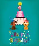 Primo compleanno felice Immagini Stock Libere da Diritti