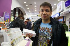 Primo compratore iPhone6 in Russia Fotografia Stock