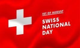 primo del vettore dell'insegna di festa nazionale di August Swiss Immagine Stock Libera da Diritti